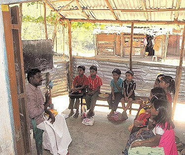 Makeshift classroom prior to new building